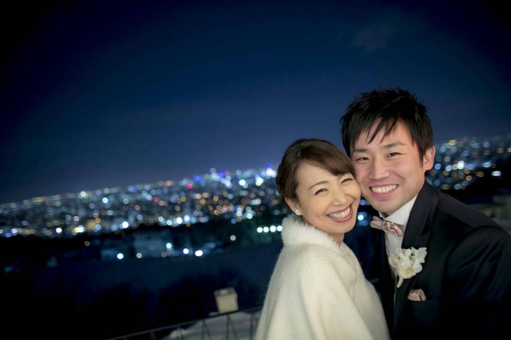 札幌の夜景で前撮りウェディング