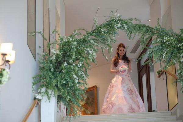 グランマニエのシルクカラードレス|ジャガード織|花柄