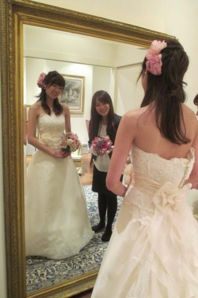 グランマニエのウエディングドレス|ヴァレリー|ブーケ・ヘッドドレスとコーディネート