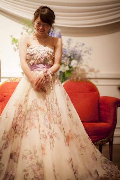 グランマニエのカラードレス|花柄|パープル