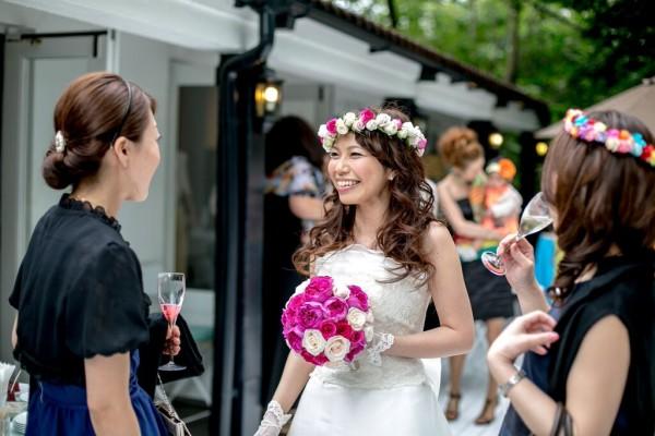 グランマニエのカラードレス|花冠|ピンクとグリーン