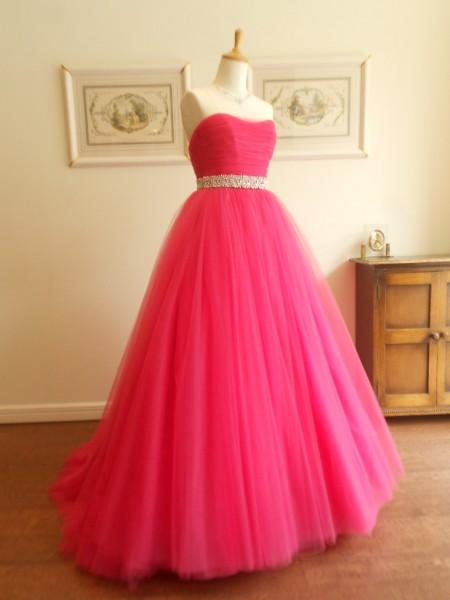 チュールドレス|グランマニエのウエディングドレス|バレーチェリーピンク