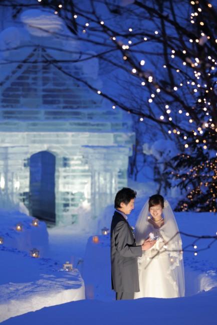 前撮り|グランマニエのウエディングドレス|冬のウエディング