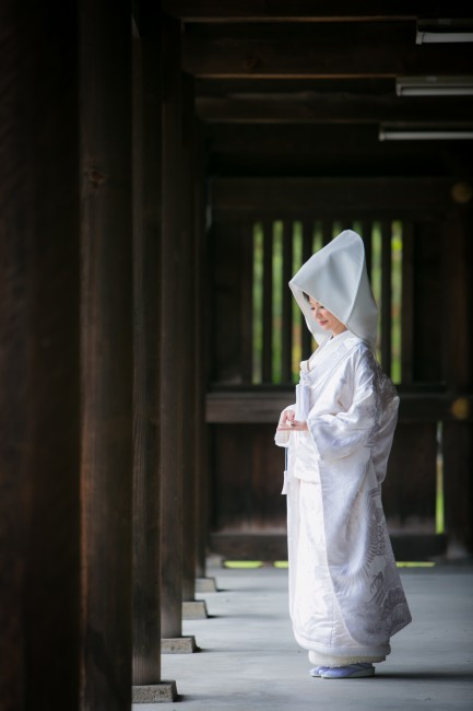 グランマニエの白無垢 綿帽子 神前挙式