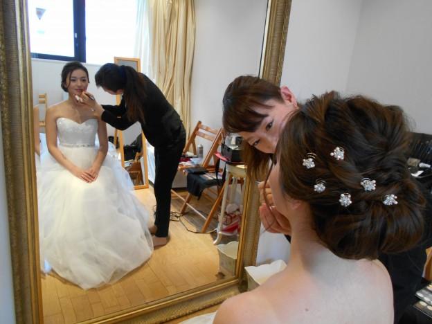 グランマニエのウエディングドレス|ヘアメイクリハーサル