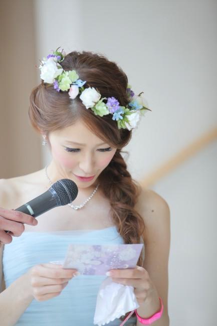 グランマニエのカラードレス|編みこみヘア|花かんむり|バレーブルー