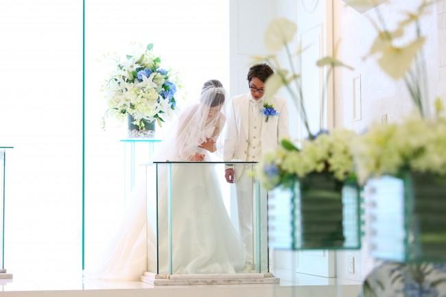 結婚証明書|ベール|沖縄挙式|グランマニエのウエディングドレス