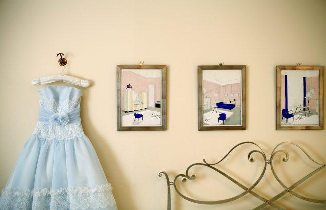 グランマニエのカラードレス|ブルーのドレス|レースのカラードレス