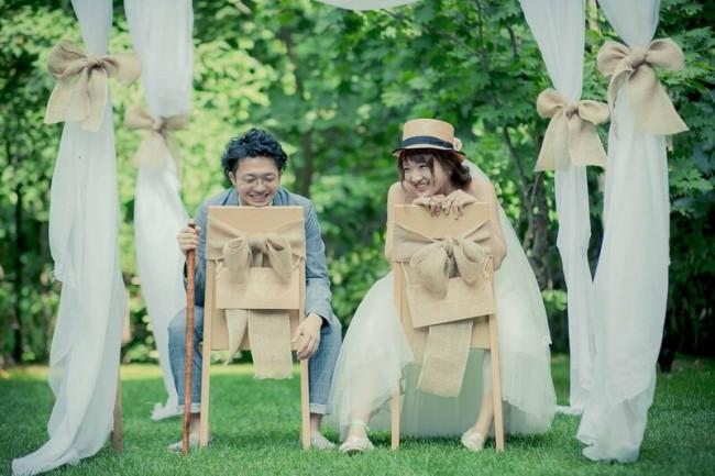 グランマニエのウエディングドレス|ガーデンウエディング|ミモレ丈のドレス