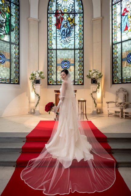 グランマニエのウエディングドレス|ローズガーデンクライスト教会|マーメイドドレス