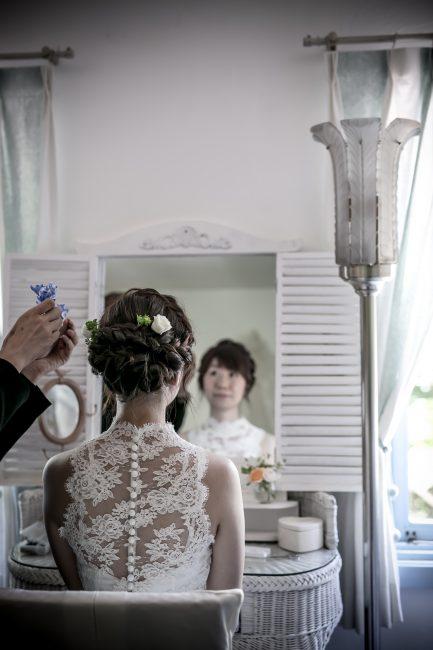 グランマニエのウエディングドレス 編みこみ ヘアスタイル