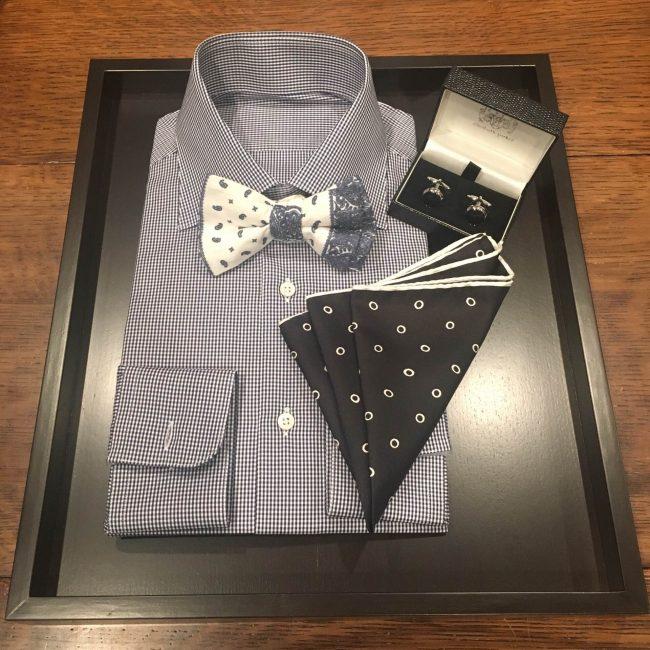 グランマニエのタキシード|新郎のシャツ|ポケットチーフ|タキシードのコーディネート