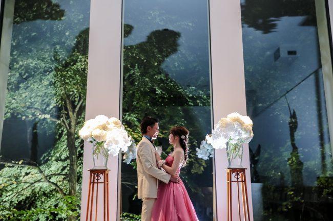 グランマニエのカラードレス|ピンクのカラードレス|カジュアルなタキシード
