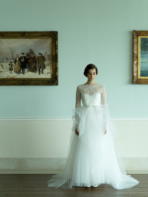 グランマニエのウエディングドレス ボレロ チュールのドレス ロングスリーブドレス