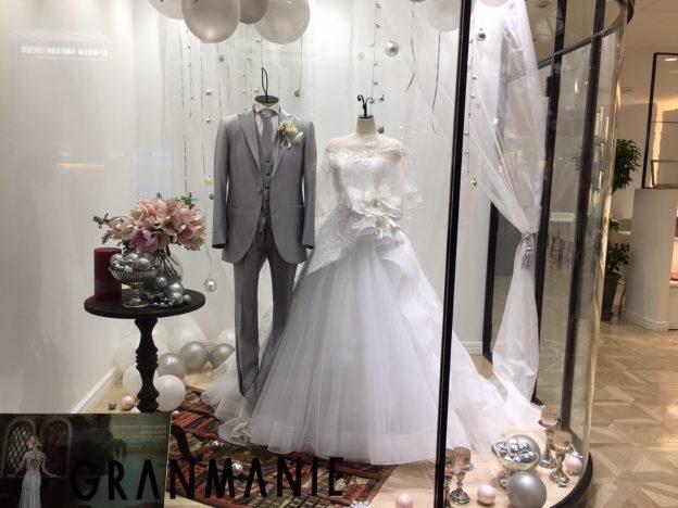 グランマニエのウエディングドレス|グランマニエ|プリンセスライン|グレーのタキシード