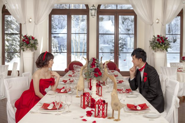 カラードレス|赤|クリスマス