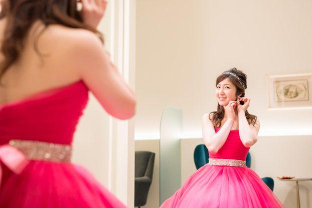 ヘアメイクリハーサル ピンク カラードレス