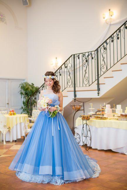 マリリンモンロー チュールドレス ブルーのカラードレス