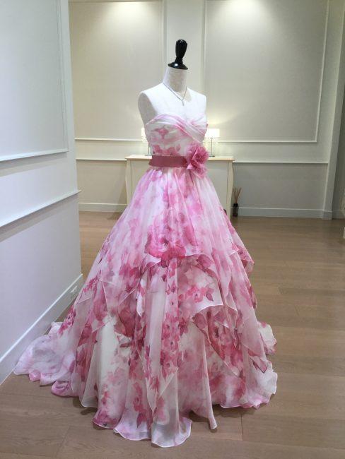 ポエムピンク|PoemPink|フラワープリント|グランマニエのカラードレス