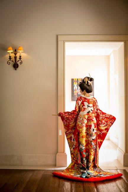 赤   色打掛 鶴 グランマニエの和装