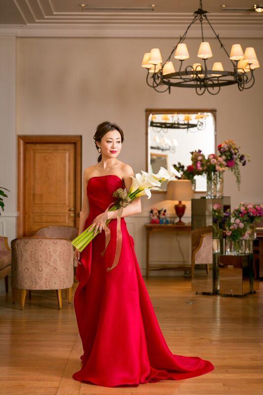 ガザール 赤 グランマニエのカラードレス スレンダードレス