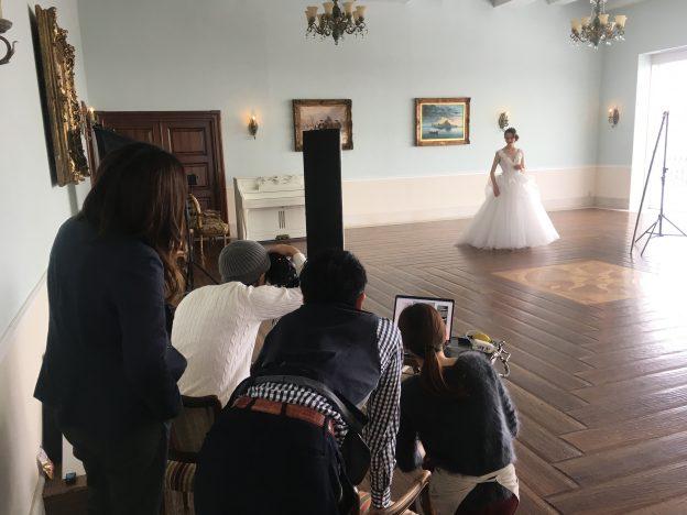 撮影風景 グランマニエのウエディングドレス
