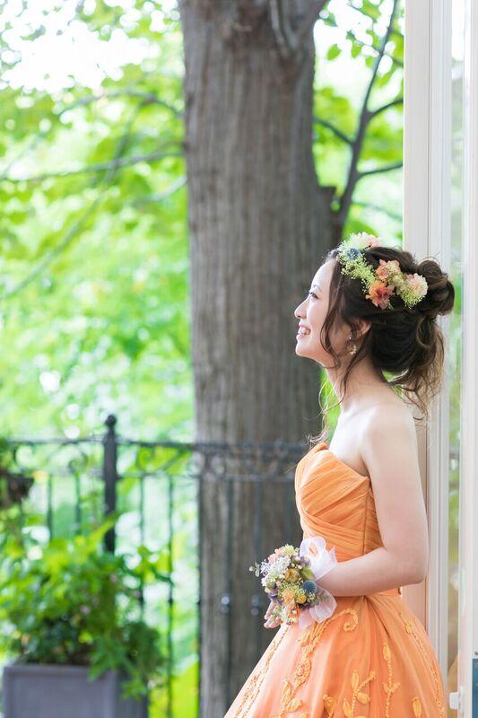 オレンジカラードレス|グランマニエのカラードレス